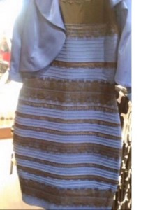 blue and black or white and gold dress