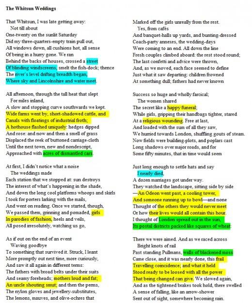 Poem Whitsun Weddings highlighted